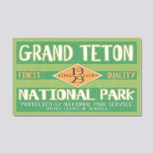 Grand Teton National Park (Retro) Sticker (Rectang