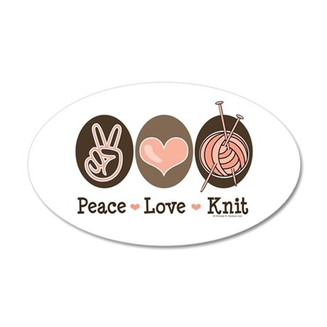 Peace Love Knit Knitting 20x12 Oval Wall Peel
