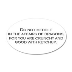 Leave the Dragons Alone 20x12 Oval Wall Peel