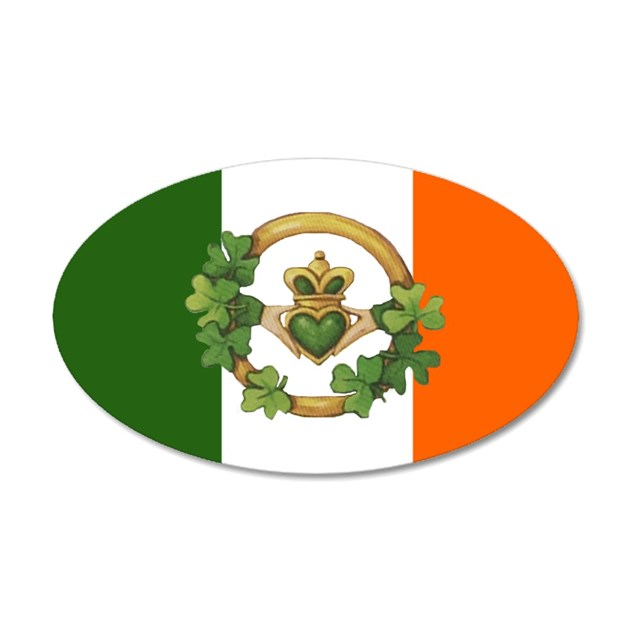 Irish Flag Claddagh 20x12 Oval Wall Peel By Admincp395077