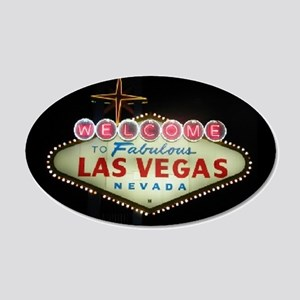 Las Vegas Sign Nighttime 20x12 Oval Wall Peel