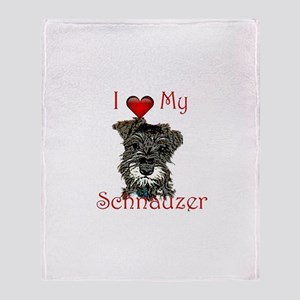 "I ""heart"" my Schnauzer Throw Blanket"