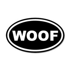 WOOF Black Euro 20x12 Oval Wall Peel