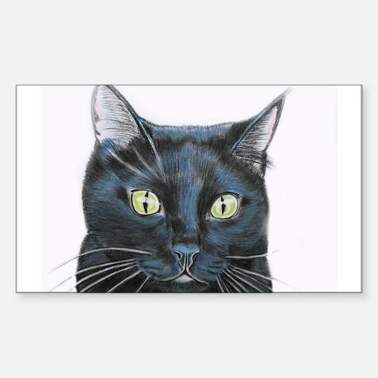 black cat Sticker (Rectangle 10 pk)