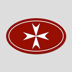 Maltese Cross 20x12 Oval Wall Peel -Red (Oval)