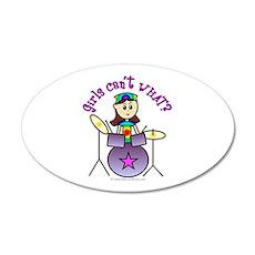 Light Girl Drummer 20x12 Oval Wall Peel