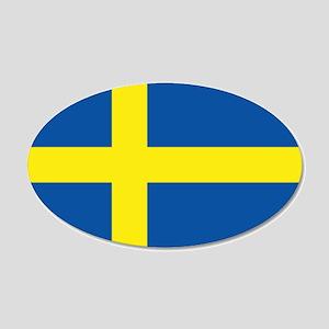 Flag Swedish 20x12 Oval Wall Peel