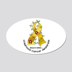 Flower Ribbon CHILD CANCER 20x12 Oval Wall Peel