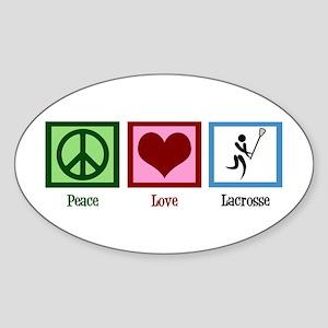 Peace Love Lacrosse Sticker (Oval)
