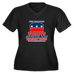 Feel the Spu Women's Plus Size V-Neck Dark T-Shirt