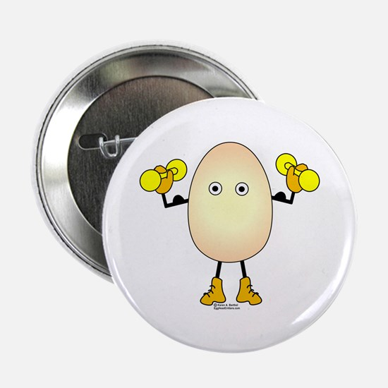"Weight Lifter Egghead 2.25"" Button"
