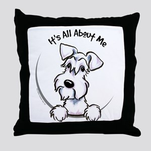 White Schnazuer IAAM Throw Pillow