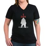 I Love Sasquatch Women's V-Neck Dark T-Shirt