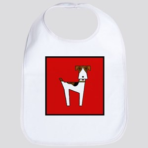 graphic terrier (red) Bib