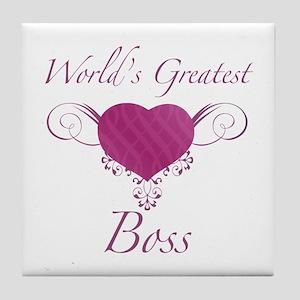 World's Greatest Boss (Heart) Tile Coaster