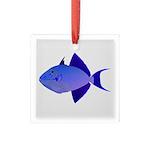 Niger Triggerfish Square Glass Ornament
