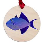 Niger Triggerfish Maple Round Ornament