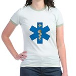 OES EMS Blue Star of Life Jr. Ringer T-Shirt