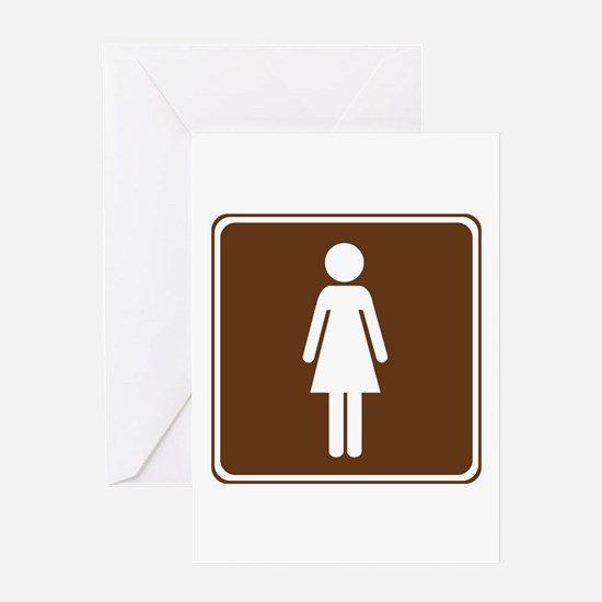 Women's Restroom Sign Greeting Card