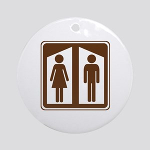 Restroom Sign Ornament (Round)