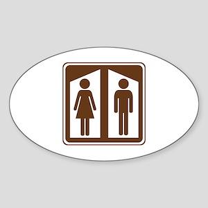 Restroom Sign Sticker (Oval)