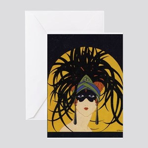 Art Deco Lady Greeting Cards