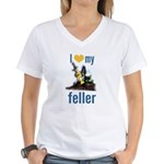 I Love My Feller Women's V-Neck T-Shirt