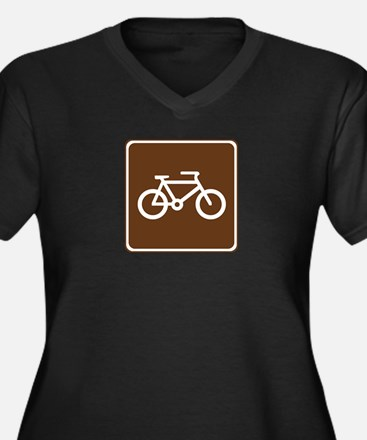 Bicycle Trail Sign Women's Plus Size V-Neck Dark T