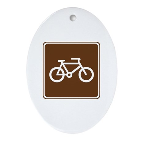Bicycle Trail Sign Ornament (Oval)