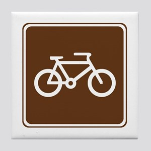 Bicycle Trail Sign Tile Coaster