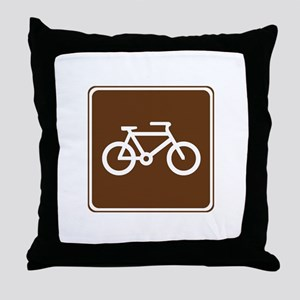 Bicycle Trail Sign Throw Pillow