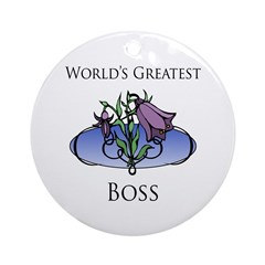 World's Greatest Boss (Flower) Ornament (Round)