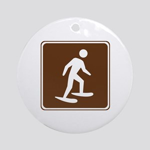Snow Shoeing Sign Ornament (Round)