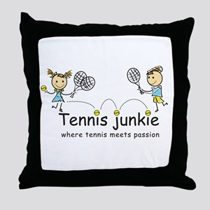 Tennis Junkies Boy and Girl Throw Pillow