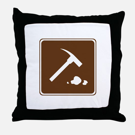 Rock Collecting Sign Throw Pillow