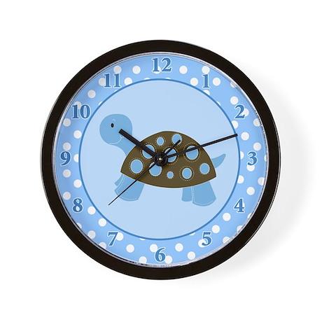 Mod Turtle Blue Dot Wall Clock