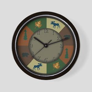 Bear Moose Lodge Rustic Wall Clock