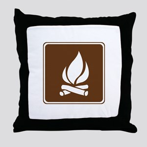 Campfire Sign Throw Pillow