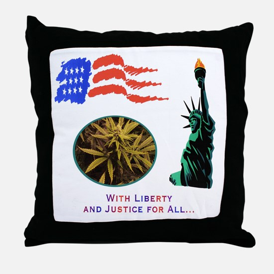 LIBERTY & JUSTICE FOR ALL Throw Pillow
