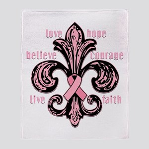 Pink Fleur Ribbon Throw Blanket