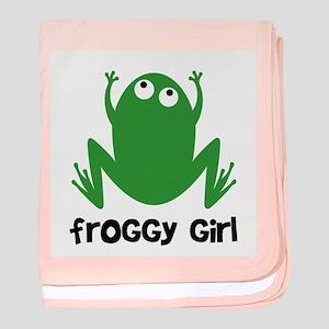 Froggy Girl baby blanket