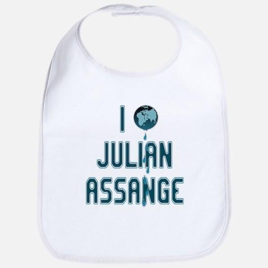 I Love Julian Assange Wikileaks Bib