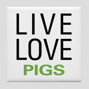 Live Love Pigs Tile Coaster
