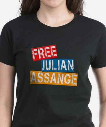 Free Julian Assange Women's Dark T-Shirt