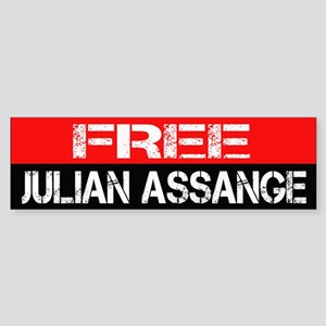 Free Julian Assange Bumpersticker Sticker (Bumper)