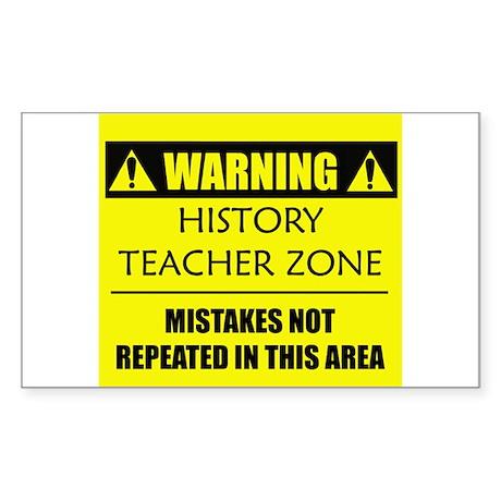 WARNING: History Teacher Sticker (Rectangle)