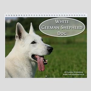 White German Shepherd Dog Wall Calendar