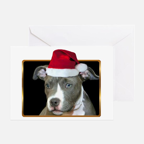 Christmas Pitbull Pup Greeting Card
