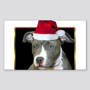 Christmas Pitbull Pup Sticker (Rectangle)