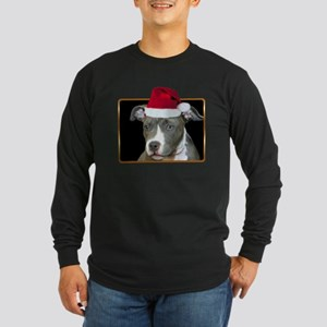 Christmas Pitbull Pup Long Sleeve Dark T-Shirt